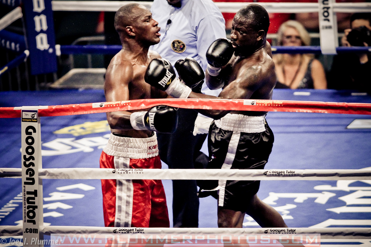 December 17, 2011-  Kariz Kariuki (left) and Edison Miranda (right) exchange blows in a light heavyweight bout at Boardwalk Hall in Atlantic City, New Jersey. Miranda defeated Kariuki by way of technical knockout in 2:04 of round 5.