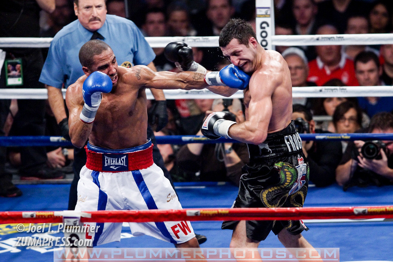 CARL FROCH (right) and ANDRE WARD (left) battle for the Showtime Super 6 Championship. WARD won by unanimous decision.