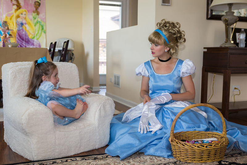 Cinderella takes off her white gloves.