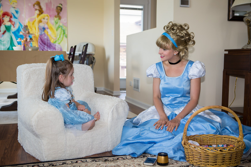 Cinderella sets up her music so they can sing together.