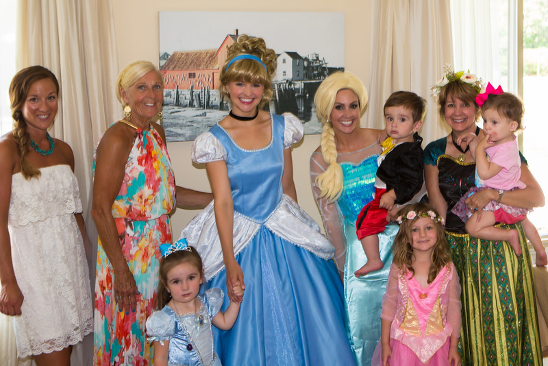 "Cate's family with Cinderella.   ""Thank you Cinderella for stopping by and celebrating Cate's birthday with us!""!"