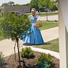 Oh my Gosh!!  Cinderella is here!!  Cate watches her approach from the front window.