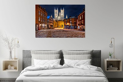 Castle Square in snow above bed
