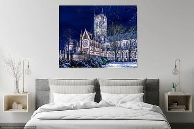 Snowy cathedral in bedroom