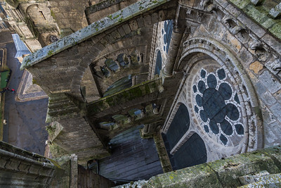 Looking down on the stained glass window & flying buttress