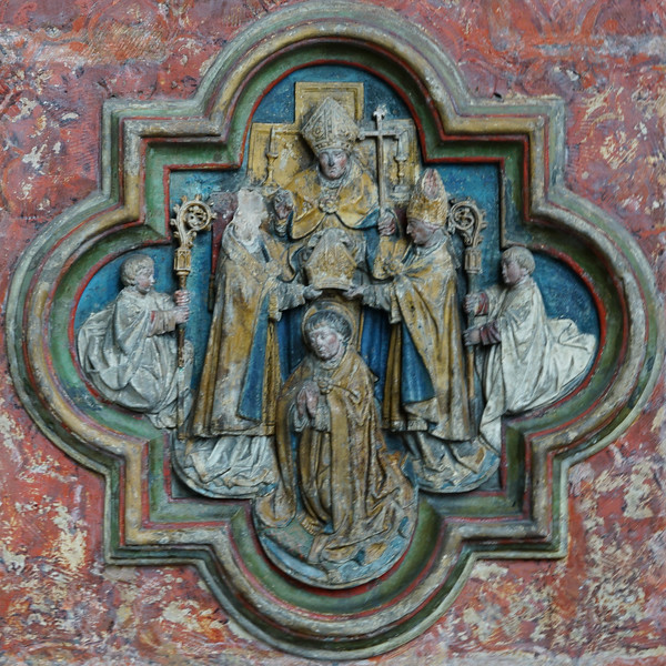 Amiens Cathedral Choir Screen Quatrefoil Saint-Fermin  Becoming a Bishop