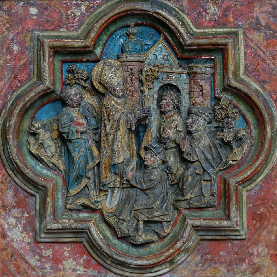 Amiens Cathedral Choirscreen Quatrefoil Saint-Fermin  Scene