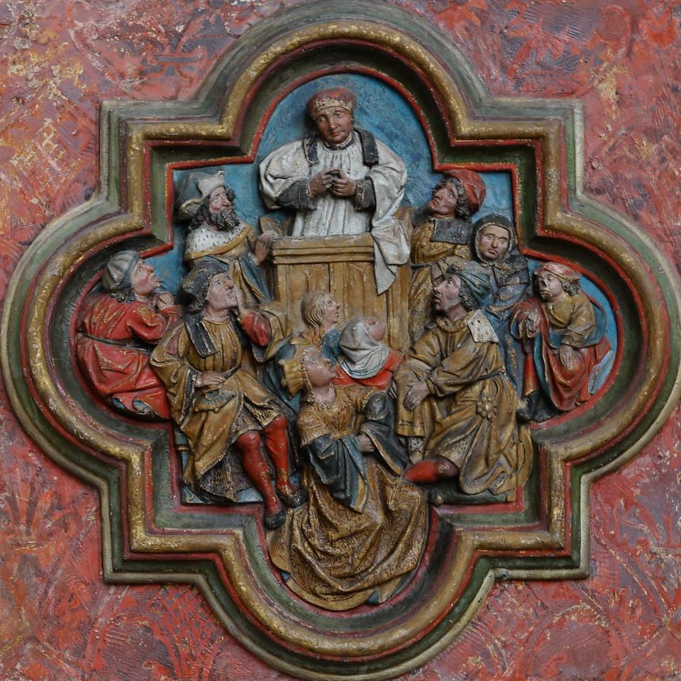 Amiens Cathedral Choir Screen Quatrefoil Saint-Fermin Preaching.