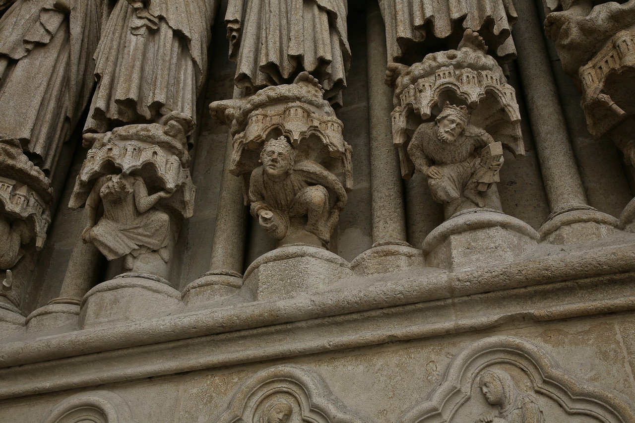 Amiens Cathedral West Facade, Kings Crushed by Saints