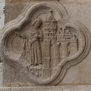 Amiens Cathedral West Facade Quatrefoil, The Prophet Curses Nineveh