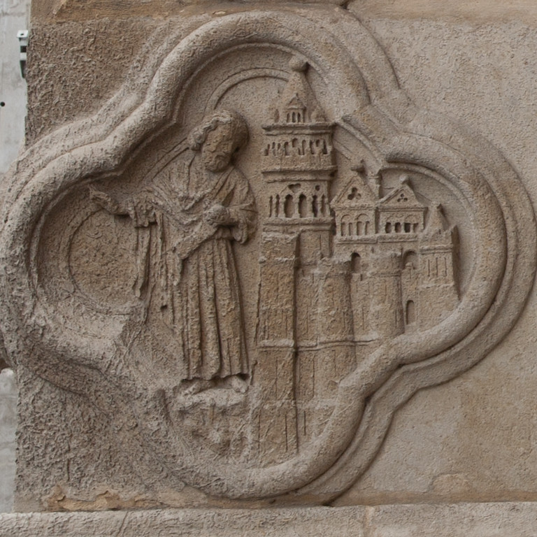 Amiens Cathedral West Facade Quatrefoil, The Prophet Curses Nineveh