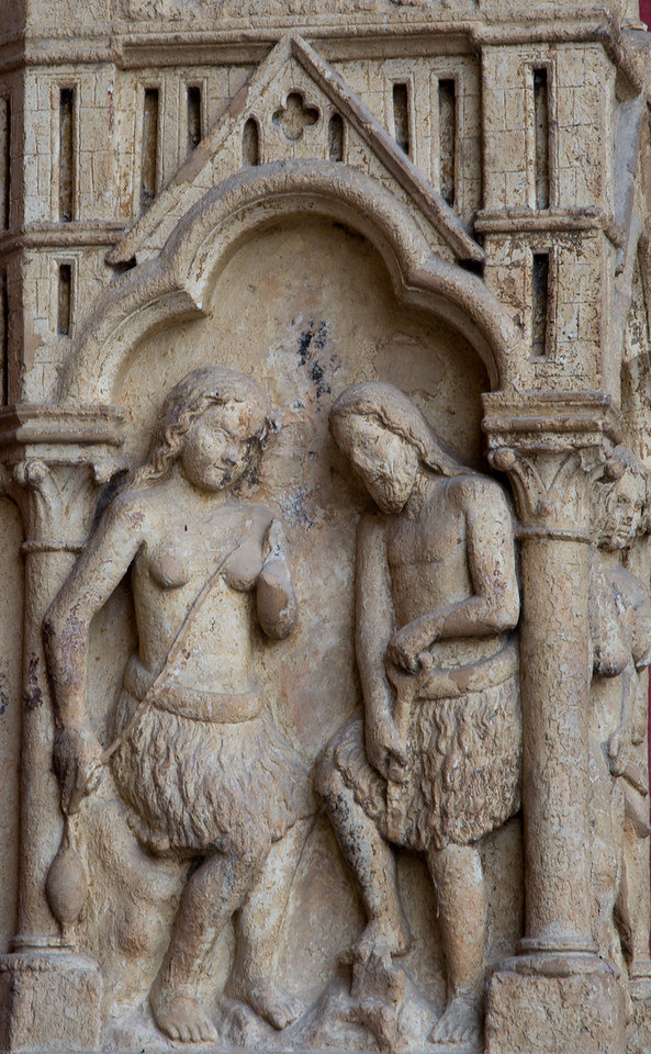 Amiens Cathedral West Facade, Adam and Eve Working
