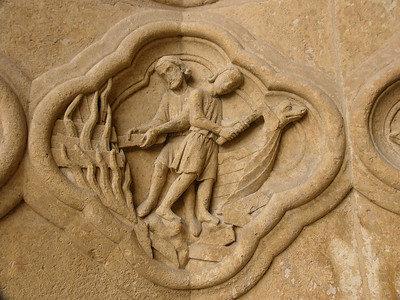 Amiens Cathedral West Facade Quatrefoil, Jonah Building the Ark