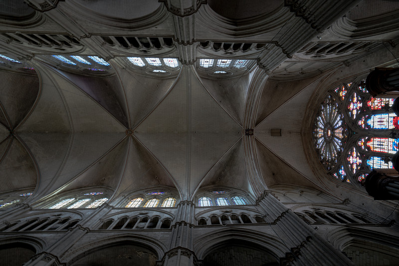 Bourges, Saint Stephen Cathedral Nave Vaults and Rose Window