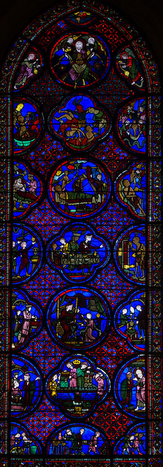 Bourges Cathedral Dives and Lazarus Window (1210)