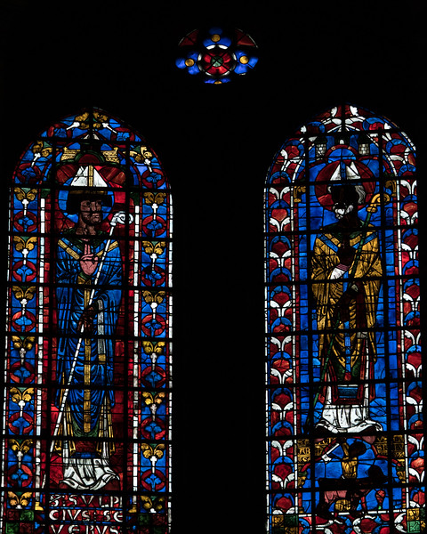 Bourges Cathedral, Choir Clerestory Window, Saint-Sulpice Sevère and  an Archbishop