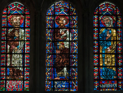 Bourges Cathedral Clerestory Window, Saints Mark, Luke and Mathias