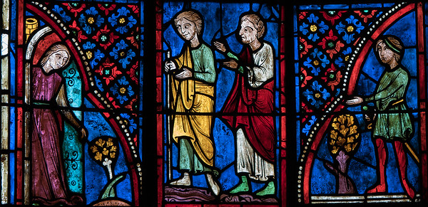 Bourges Cathedral, Mary the Eygptian with Her Clients