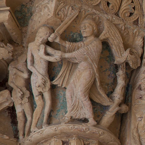 Bourges Cathedral South Porch Jamb Capital - The Expulsion