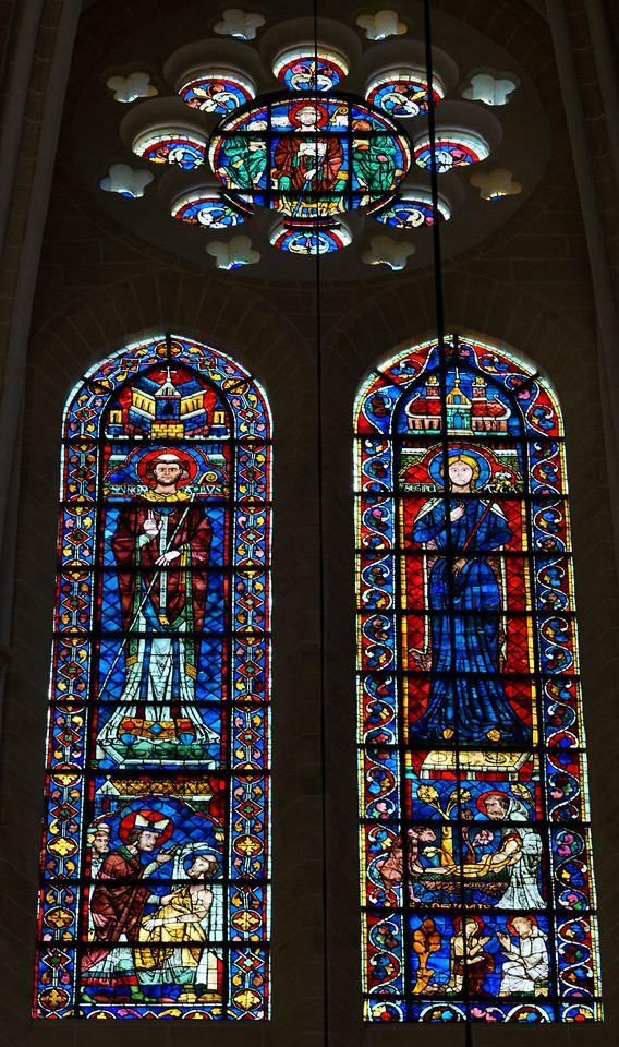 Chartres Cathedral Clerestory Window, Saint Giles and Saint George