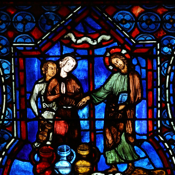 Chartres Cathedral, The Bllue Virgin Window, Scene from the Marriage at Cana