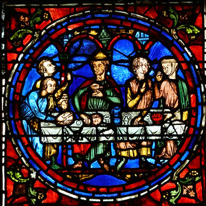 Chartres Cathedral, The Blue Virgin Window - The Marriage at Cana