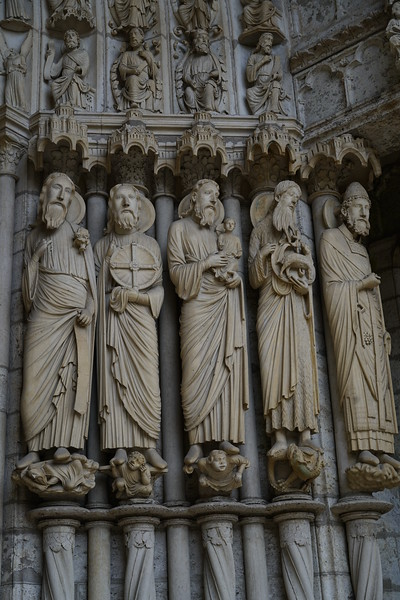 Chartres Cathedral North Porch, Prophets  Isaiah,  Jeremiah, Simeon with The Christ Child, , John the Baptist, and Saint Peter
