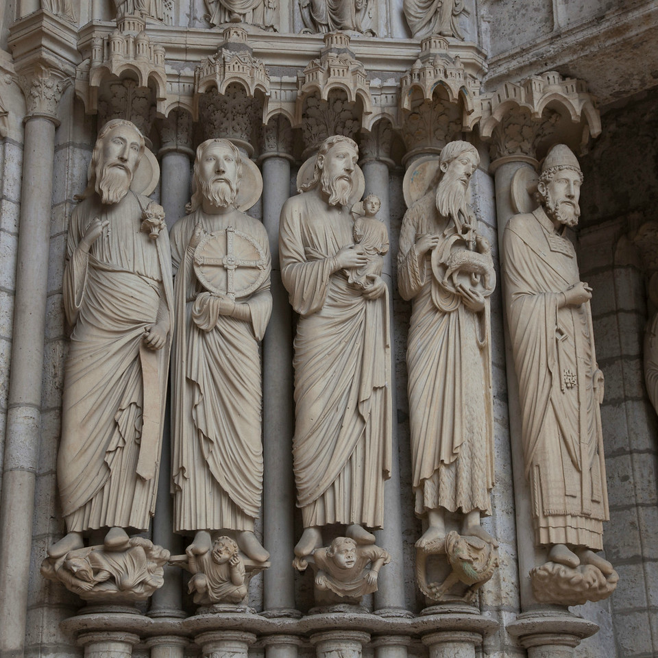 Chartres Cathedral North Porch, Prophets  Isaiah,  Jeremiah and Simeon with The Christ Child, , John the Baptist, and Saint Peter