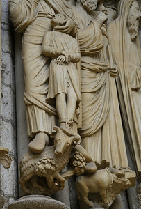 Chartres Cathedral North Porch, Isaac  in the Hand of Abraham