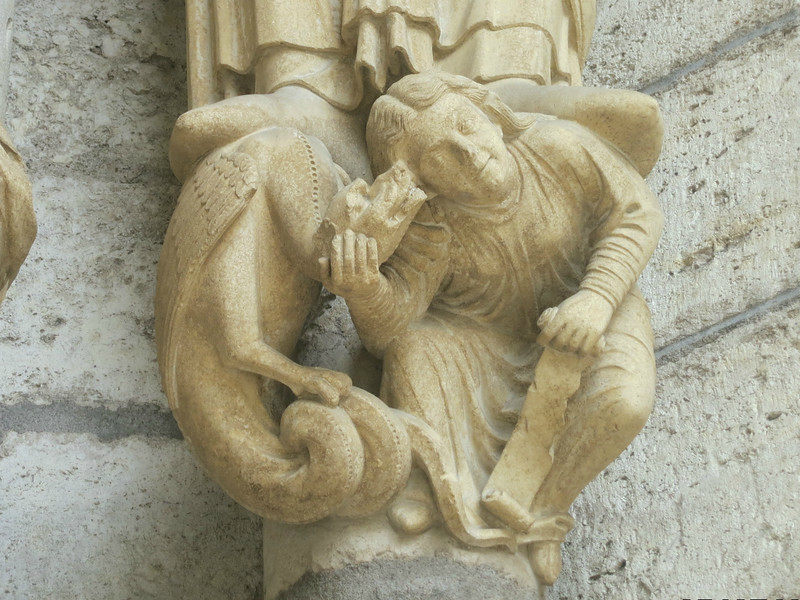 Chartres Cathedral North Porch, Potipher;s Wife Listening to a Devil