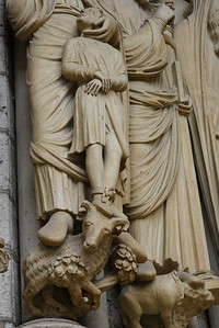 Chartres Cathedral North Porch Jamb Figure, Isaac Held by Abraham