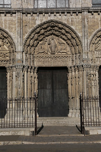 Chartres Cathedral West Facade Center Portal - Christ and Symbols of the Evangelists