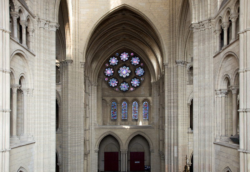 Laon Notre Dame Cathedral Crossing And North Rose Window