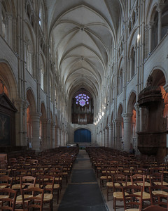 Laon Cathedral of Notre-Dame Nave and Rose Window