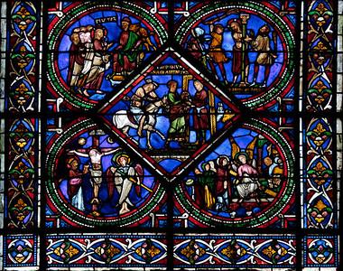 Sens, Saint-Etienne Cathedral Good Samaritan Window, The Samaritan Bring the Victim to the Inn