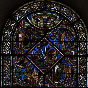 Sens Cathedral of Saint-Etienne -The Good Samaritan Window, The Pilgrim is Attacked by Robbers