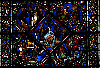Sens, Saint-Etienne Cathedral Good Samaritan Window, The Priests Abandon the Victim
