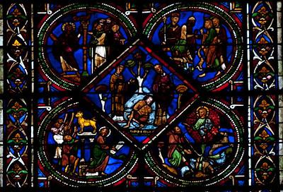 Sens, Saint-Etienne Cathedral Good Samaritan Window, The Priests Abandon the Victim
