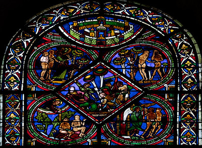 Sens, Saint-Etienne Cathedral Good Samaritan Window, The Victim Being Attacked