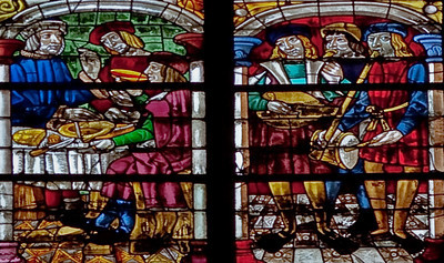 Troyes Saint Peter and Saint Paul Cathedral Prodigal Son Window, Eating the Fatted Calf