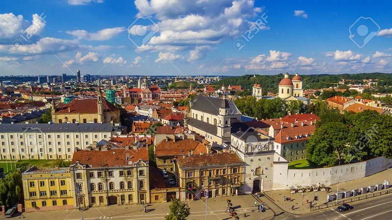AERIAL. Old Town in Vilnius, Lithuania: the Gate of Dawn