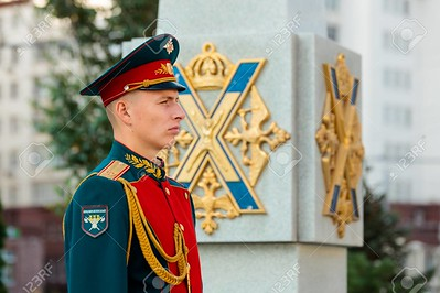 MOSCOW, RUSSIA - SEPTEMBER 02, 2017: Day of the Russian Guard. The Honor Guard of the 154 Preobrazhensky Regiment. Hour soldier at the monument to soldiers-Preobrazhensky regiment. Preobrazhenskaya Square, Moscow.
