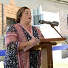 The new Catholic Charities Women's Recovery Program held a ribbon cutting for their facility on Mechanic Street  in Leominster Friday, Oct. 4, 2019. Administrator of the women's recovery program at Catholic Charities Angel Bodziak addresses the crowd at the event. SENTINEL & ENTERPRISE/JOHN LOVE