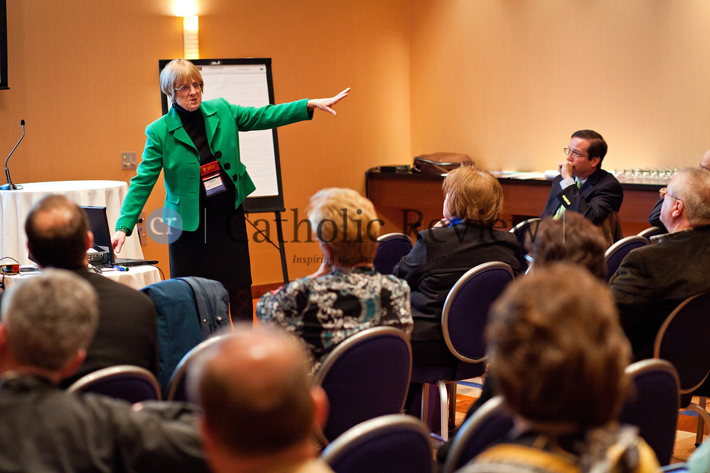 TOM McCARTHY JR. | CR STAFF<br /> Carol Fowler, retired director of personell services for the ARchdiocese of Chicago, leads a session on Managing Successful Transitions during the Mid-Atlantic Congress in Baltimore March 8.