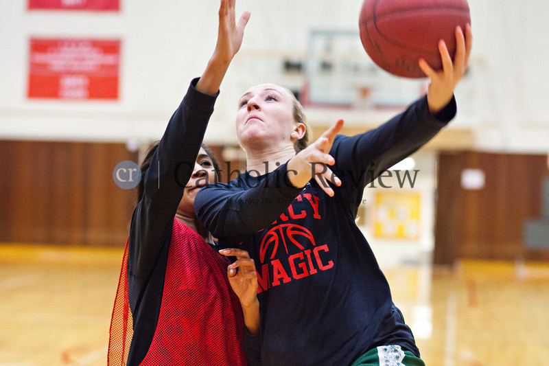 TOM McCARTHY JR. | CR STAFF<br /> Kayla Jones defends against a drive from Kendall Cochran during Mercy Varsity Basketball team practice Jan. 9.