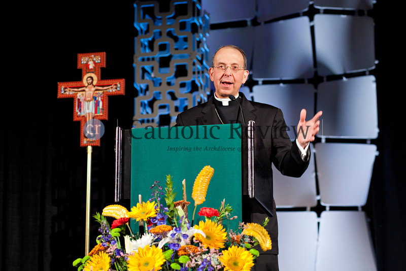 TOM McCARTHY JR. | CR STAFF<br /> Archbishop William E. Lori from the Archdiocese of Baltimore speaks during the first Leadership Assembly of the 2014 Mid-Atlantic Congress in Baltimore Feb. 27.