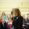 2012 Olympic gold-medalist Meghan Musnicki, a member of the U.S. Women's Rowing Team, speaks to students at St. Francis-St. Stephen School in Geneva.