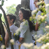 Annual May Day celebration at Our Lady of Mercy High School. Following a Mass students who epitomize the spirit of Mary, as chosen by classmates, take part in procession of the May court, culminating with the crowning of Mary.
