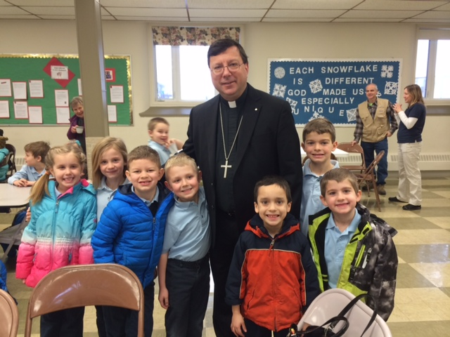 Mary Queen of Peace Catholic School<br /> Bishop Piche celebrated our Catholic Schools Week Mass this morning. We held a reception with cake and coffee after, and the students participated in a spelling bee.