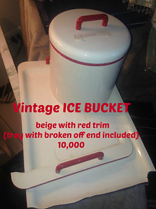 ICE BUCKET  - Vintage – beige with red trim (broken off end of tray included) - (15,000)